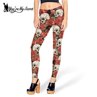 Fashion New Arrival Brand Legins ROSE AND SKULL Leggins Printed Women Leggings  Elastic Mujer