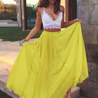 Spaghetti Straps Two Piece Prom Dresses