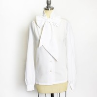 Vintage 1980s Blouse - White Polly Pussy Bow Neck Tie Top - Large / Medium