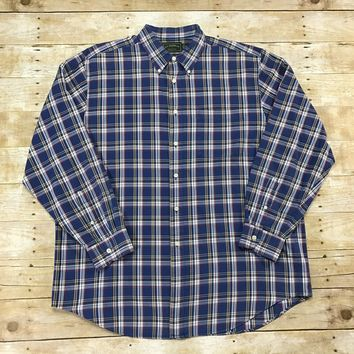 C.C. Filson Co. Blue Plaid Cotton Button Down Shirt Mens Size XL