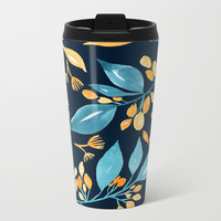 Teal and Golden Floral Metal Travel Mug by noondaydesign
