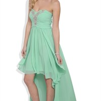 Dress with Stone Ruched Bodice