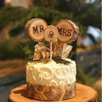 Rustic Mr and Mrs Wooden Cake Topper