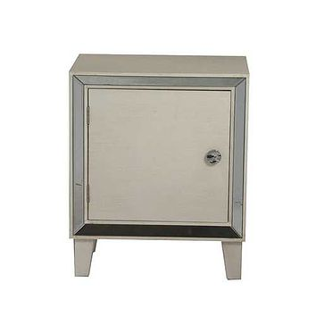 "19'.7"" X 13"" X 23'.5"" Antique White MDF, Wood, Mirrored Glass Accent Cabinet with a Door and  Mirrored Glass"