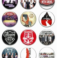 "Set of 12 New Sleeping with Sirens 1.25"" Pinback Button Badge Pin"