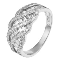 Sterling Silver Wedding Ring Engagement Bridal Simulated Diamond Women Gorgeous