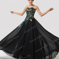 Strapless Peacock Formal Long Black Evening Dresses Lace Up Back Elegant Gowns
