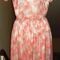 50's Vintage Pink and White Silk Dress