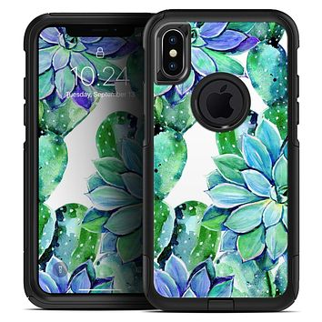 Watercolor Cactus Succulent Bloom V12 - Skin Kit for the iPhone OtterBox Cases