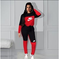 NIKE Women Fashion Letter Pullover Sweater Pants Two-Piece