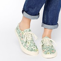 YMC Floral Lace Up Plimsolls