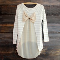 Snowed In Sheer Bow Back Sweater Tunic in Taupe
