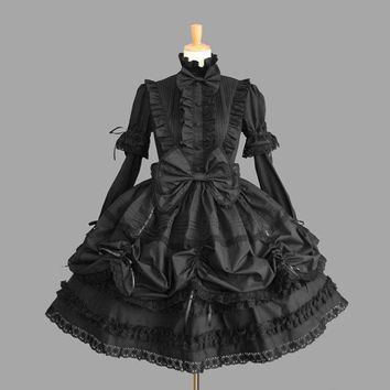 Vintage Lolita Princess Long Sleeve Ruffled Lace Gothic One Piece Lolita Dress for Girl Free Shipping