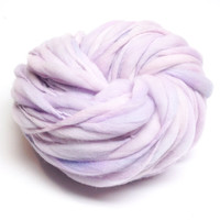 Handspun yarn spun thick and thin in merino wool, super bulky weight, 50 yards 3.05 ounces/ 86 grams