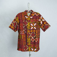 Vintage 1960s Hawaiian Shirt Orange Red Tapa Print Island Casuals