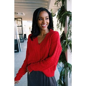 Hartford Cable Knit Sweater, Red