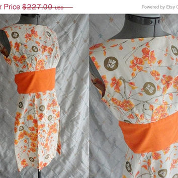 ON SALE 50s Dress // Shaheen // Vintage 1950s 1960s Orange and White Cotton Dress with Flowers and Asian Characters by Shaheens of Honolulu