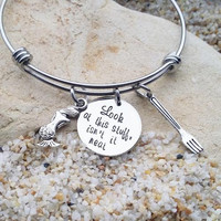 Jewelry - Bangle - Disney - Littler Mermaid - Hand Stamped - Gift for Her - Stamped Jewelry - Dinglehopper
