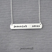 jeremiah 29 11 necklace, hand stamped personalized necklace, hand stamped necklace, sideways, rectangle, jeremiah 29:11 jewelry, bible
