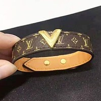 Louis Vuitton LV New fashion monogram leather couple bracelet