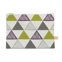 """Laurie Baars """"Textured Triangles Green"""" Gray White Everything Bag"""