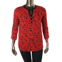 Jones New York Womens Floral Print Stretch Pullover Top