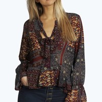 Christy Printed Tie Neck Blouse