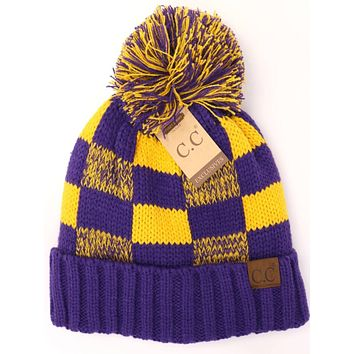 LSU Purple and Gold CC Buffalo Check Game Day Beanie