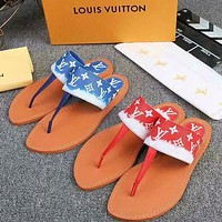 LV Shoes Louis Vuitton Slippers Women Fashion Sandals Blue Red