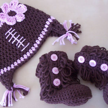 baby girl football hat, cute baby clothes, winter hat and bootie set