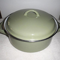 Vintage 1970s Enamel Steel Dutch Oven/Jus Pot/Made in Germany Stock Pot/Stew Pot/Stove Top Steel Enamel Dutch Oven/German Stock Pot/