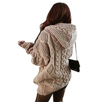 LookbookStore Light Brown Oversized Hoodie Pocket Women's Sweater Coat US 4