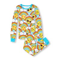Girls Long Sleeve Rainbow Emoji Top And Printed Pants Snug-Fit PJ Set