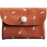 FALCONWRIGHT — Card Holder- Peach Leather with White Seeds ($25.00)