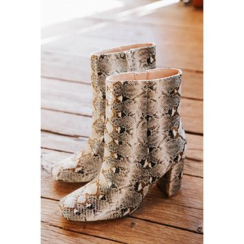 Kind Snake Print Square Toe Bootie, Beige   Chinese Laundry