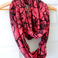 Peace Sign Jersey Knit Infinity Scarf- Pink and Black, Extra Long, Different Ways to Wear, Punk, Double Wrap
