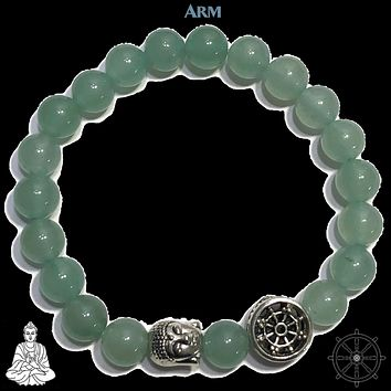 OBSTACLES | Green Aventurine | Buddha | Dharma Wheel Bracelet