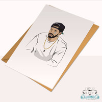 Drake Drizzy tears ovo 6 god Views Typography Love Card Stock weeknd Happy Birthday Anniversary Card