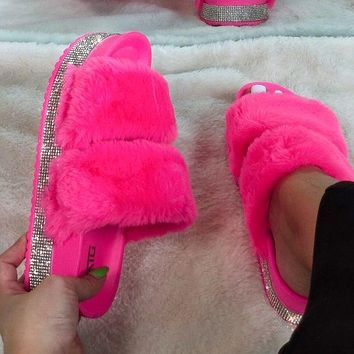 New Rhinestone Furry Colored Thick-soled Outer Slippers Women Slippers Shoes
