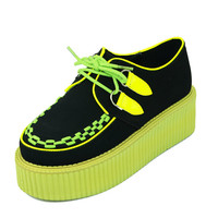 New 2013 Sexy Light Green Leather Ladies Lace Up Flat Double PlatForm Fashion Sexy Women's Goth Creepers Punk Wedge Casual Handmade Shoes