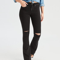 AEO Denim X Hi-Rise Slim Flare Jean, Rich Oil Black