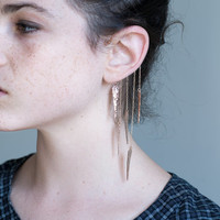 Rose Gold Ear Cuff, Hammered Spikes, Goldfilled Chain Ear Wrap