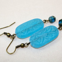 Etched glass earrings - beaded dangle earrings - sky blue czech glass - cathedral ear rings - mothers day jewelry - FREE SHIPPING - ships fr