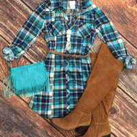 You Plaid me at Hello Belted Tunic: Blue