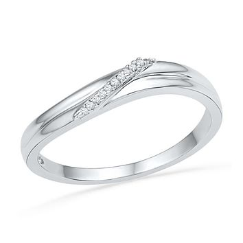 10kt White Gold Womens Round Diamond Simple Single Row Band Ring .03 Cttw 101544