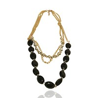Multi Strand Plastic Beaded Metal Chain Necklace