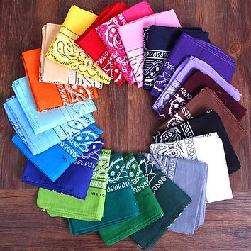 Bandana 20 Different Colors You Choose Boho Festival Scarf Cowgirl Neckerchief Choker Hair Tie Bracelet Cotton 21 x 21