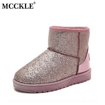 MCCKLE Female Sequined Cloth Flat Slip On Winter Platform Warmer Plush Ankle Snow Boots 2017 Women's Style Black Fashion Shoes