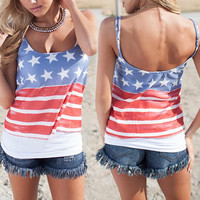 Multicolor Spaghetti Strap Striped Star Print Tank Top