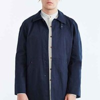 Native Youth Single Breasted Mac Coat- Navy